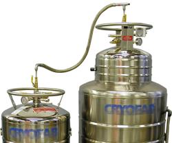 cryogenic transfer hose in use