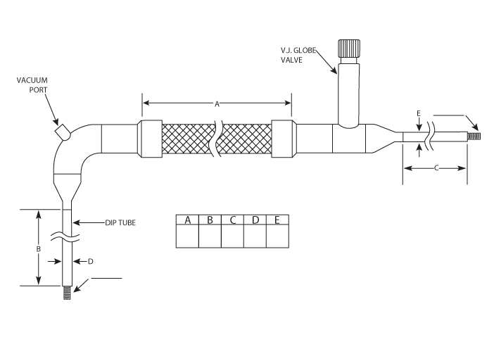 cryogenic fill hose with globe shut-off valve