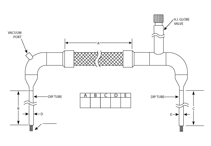 flexible cryogenic hose u-tube with globe shut-off valve