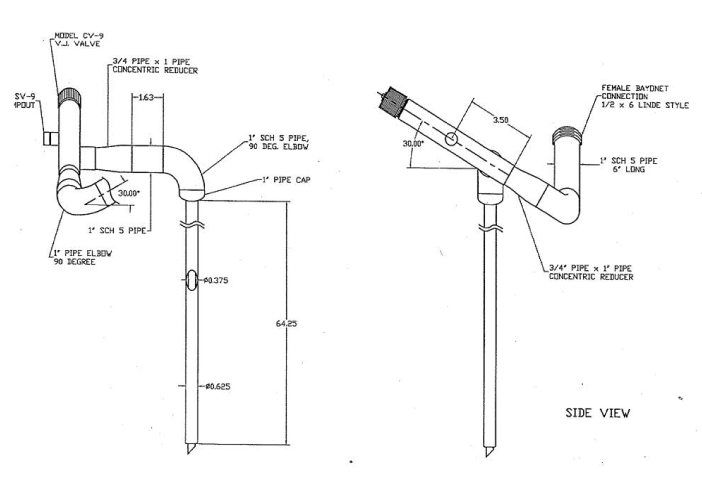 cryogenic GE stinger with female bayonet connection